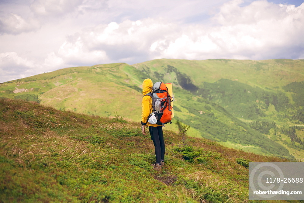 Woman hiking in the Carpathian Mountain Range