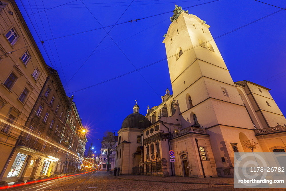 Low angle view of Latin Cathedral at night in Lviv, Ukraine