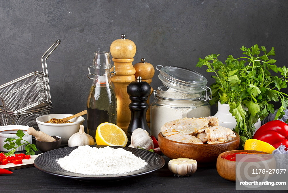 Raw ingredients including vegetables and flour