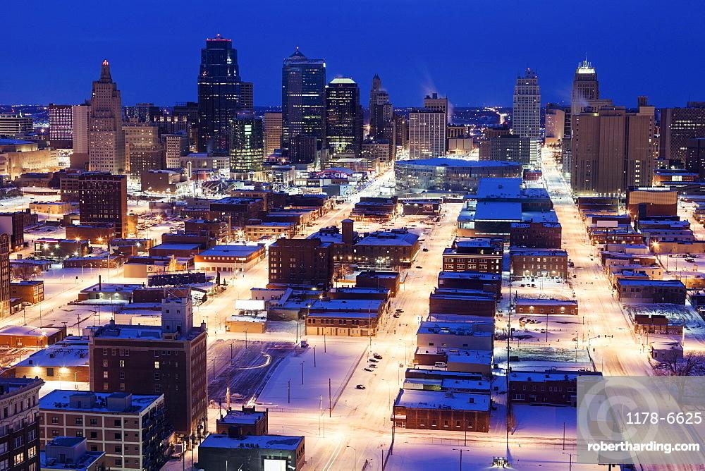 Elevated view of city in winter, Kansas City, Missouri
