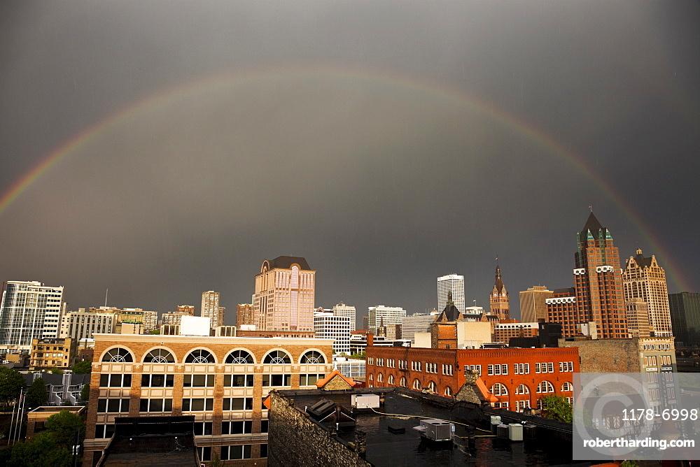 Rainbow over downtown Milwaukee, USA, Wisconsin, Milwaukee