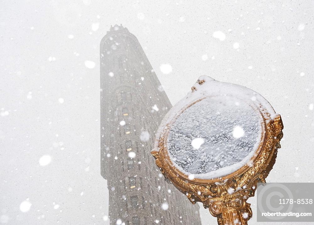 Snowy day in urban setting