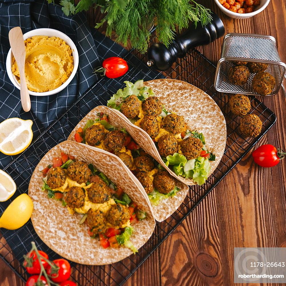 Falafel wraps with ingredients