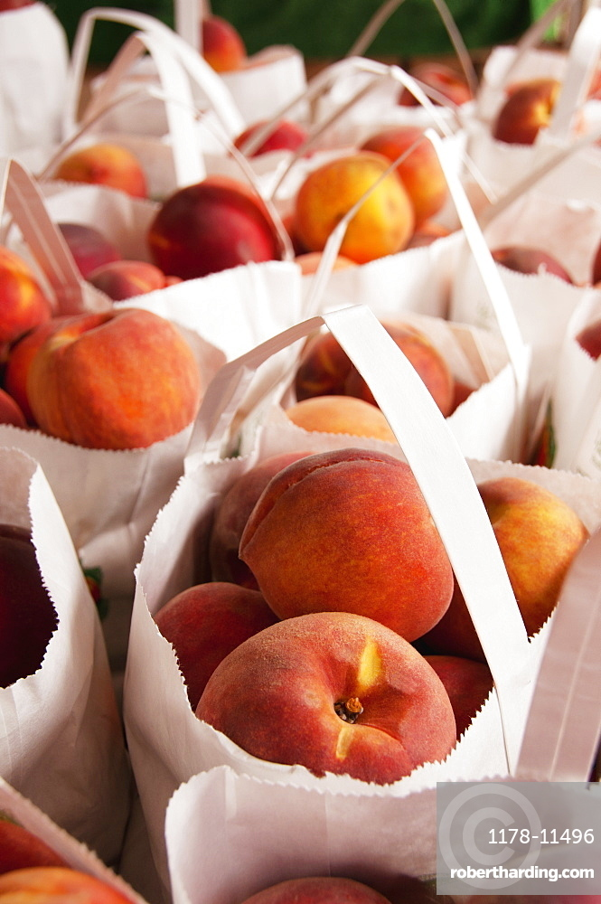 USA, Virginia, Charlottesville, bags with peaches