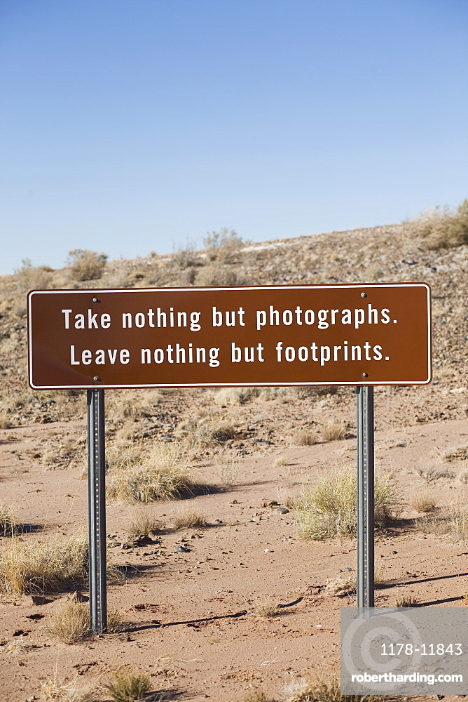 Conservation sign in Arizona desert