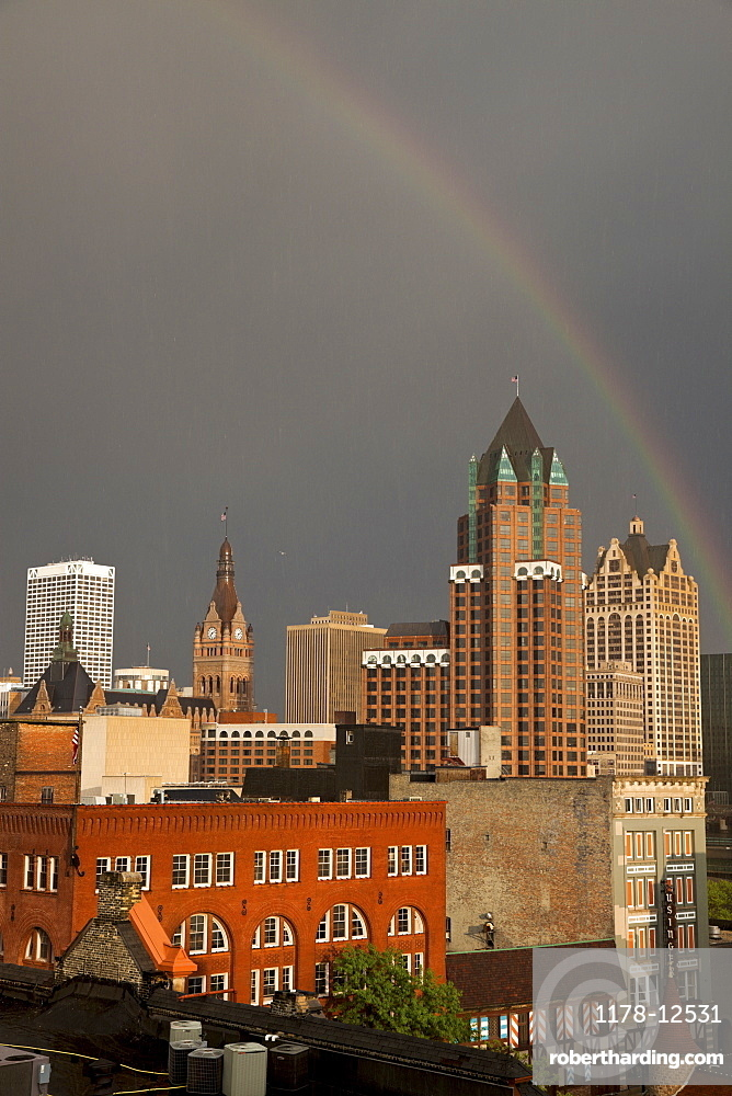 Rainbow over downtown Milwukee
