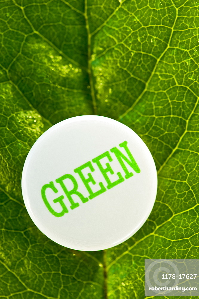 A recycling button that says Green