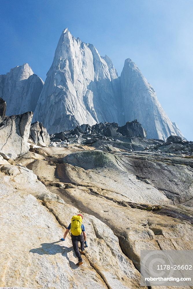 Man mountain climbing in Bugaboo Provincial Park, British Columbia, Canada