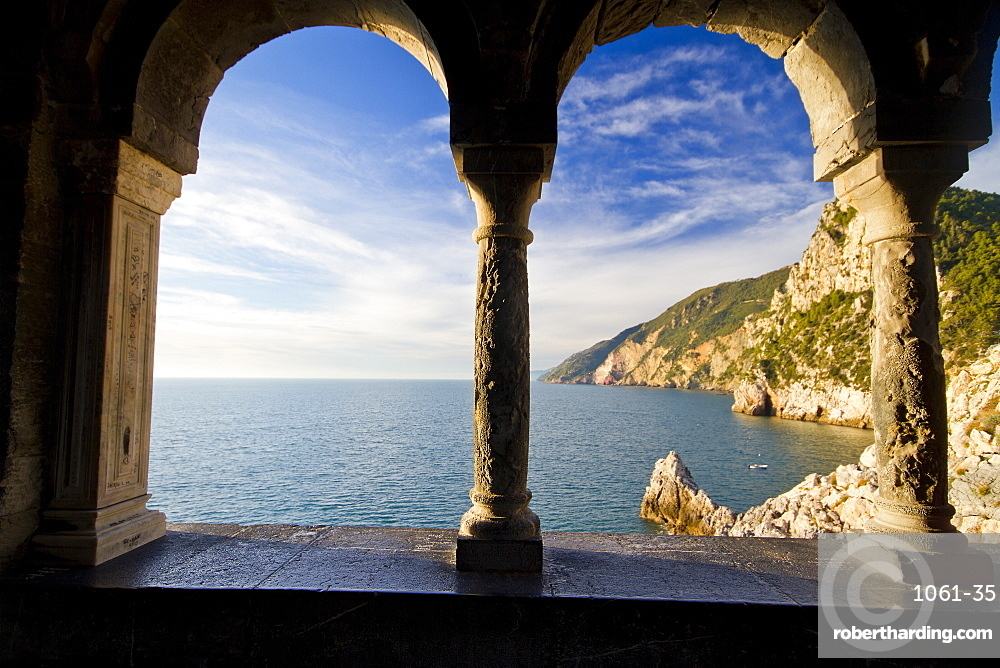 View of Cinque Terre cliffs from st Peters church Portovenere