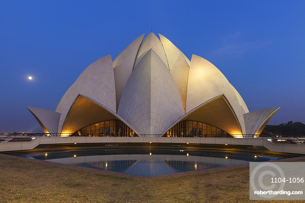 Bahai House of Worship known as the The Lotus Temple, New Delhi, Delhi, India, Asia