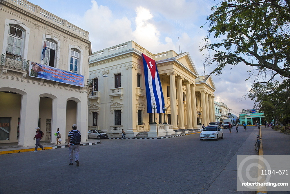Cuban flag hanging from Palacio Provincial after the death of Fidel Castro, Parque Vidal, Santa Clara, Cuba, West Indies, Caribbean, Central America