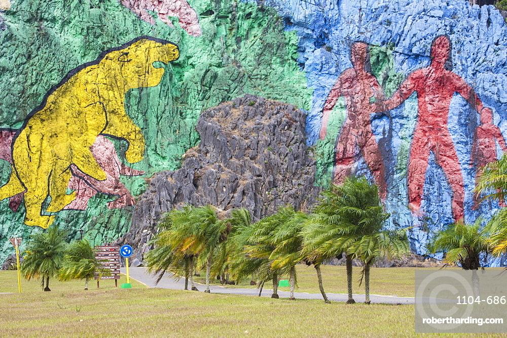 Mural de la Prehistoria, Vinales, Pinar del Rio Province, Cuba, West Indies, Central America