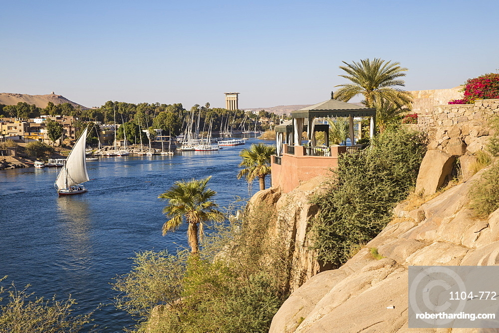 Egypt, Upper Egypt, Aswan, Gardens of Sofitel Legend Old Cataract hotel situated on the banks of the river Nile
