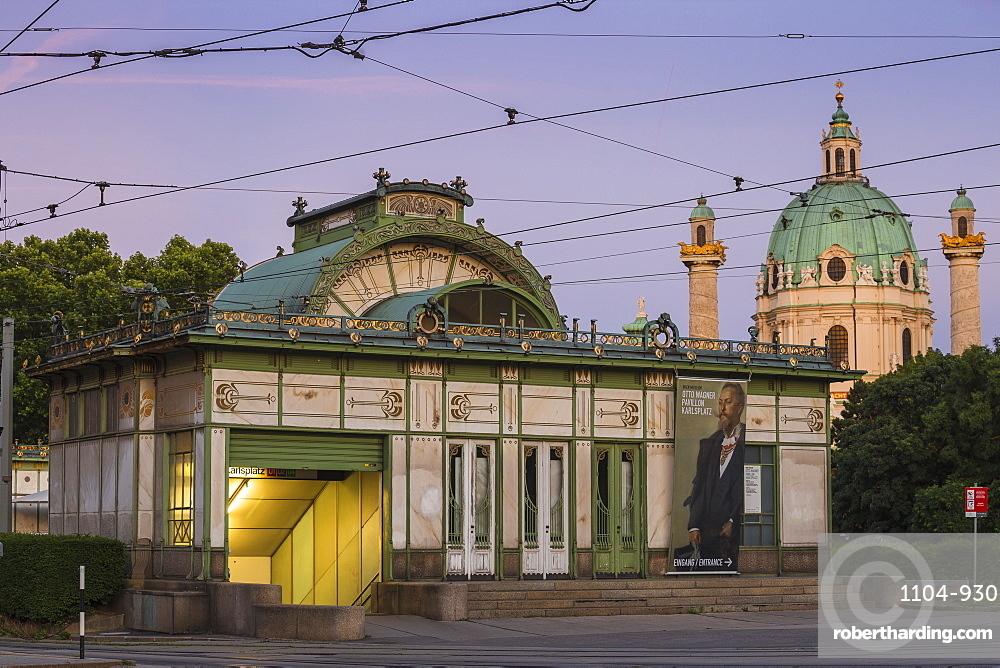 Austria, Vienna, Karlsplatz metro station and St. Charles Church