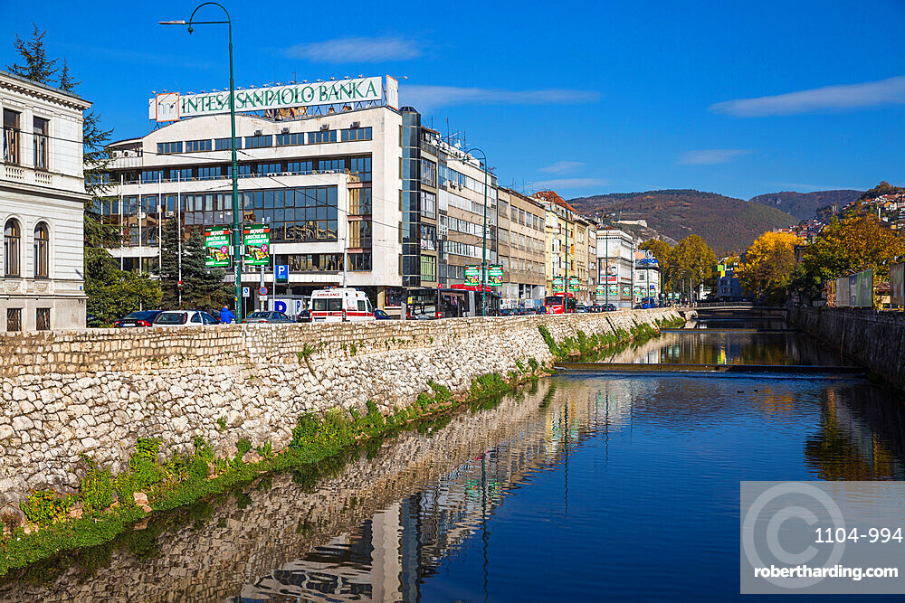 Bosnia and Herzegovina, Sarajevo, Buildings of Bascarsija - The Old Quarter, on the banks of the Miljacka River
