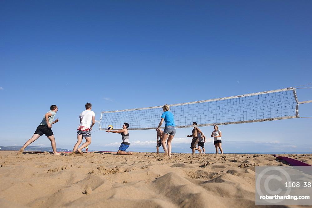 Beach volleyball, Swansea, Wales, UK