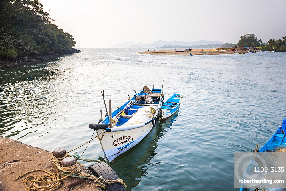 Fishing boats in a port at Talpona Beach, South Goa, India, Asia