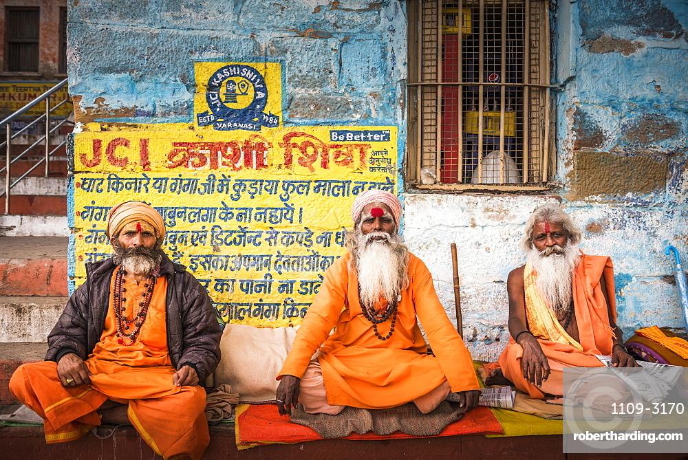 Sadhus (Indian Holy Men) in Varanasi, Uttar Pradesh, India, Asia