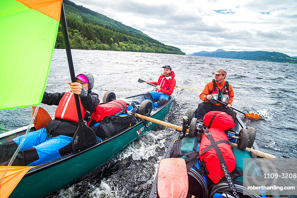 Canoeing Loch Ness section of the Caledonian Canal, Scottish Highlands, Scotland