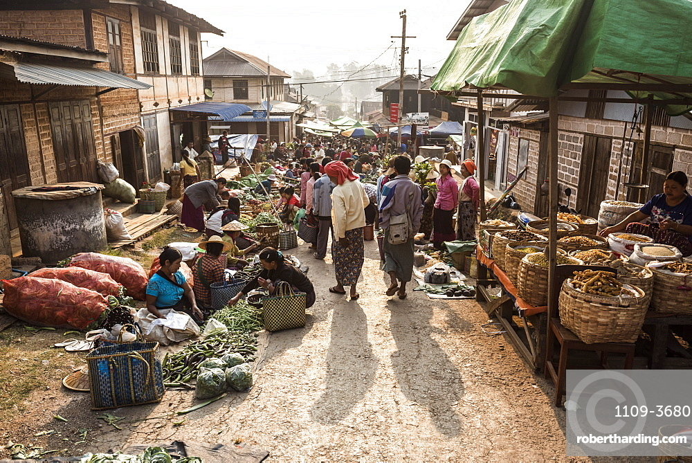 Fruit and vegetable market at Pindaya, Shan State, Myanmar (Burma)