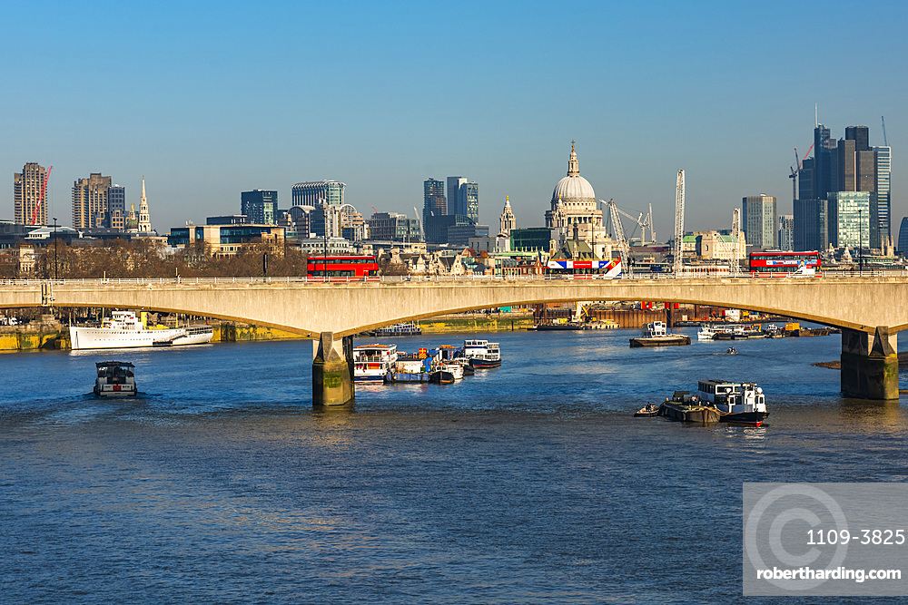St. Pauls Cathedral, River Thames and City of London, London, England, United Kingdom, Europe