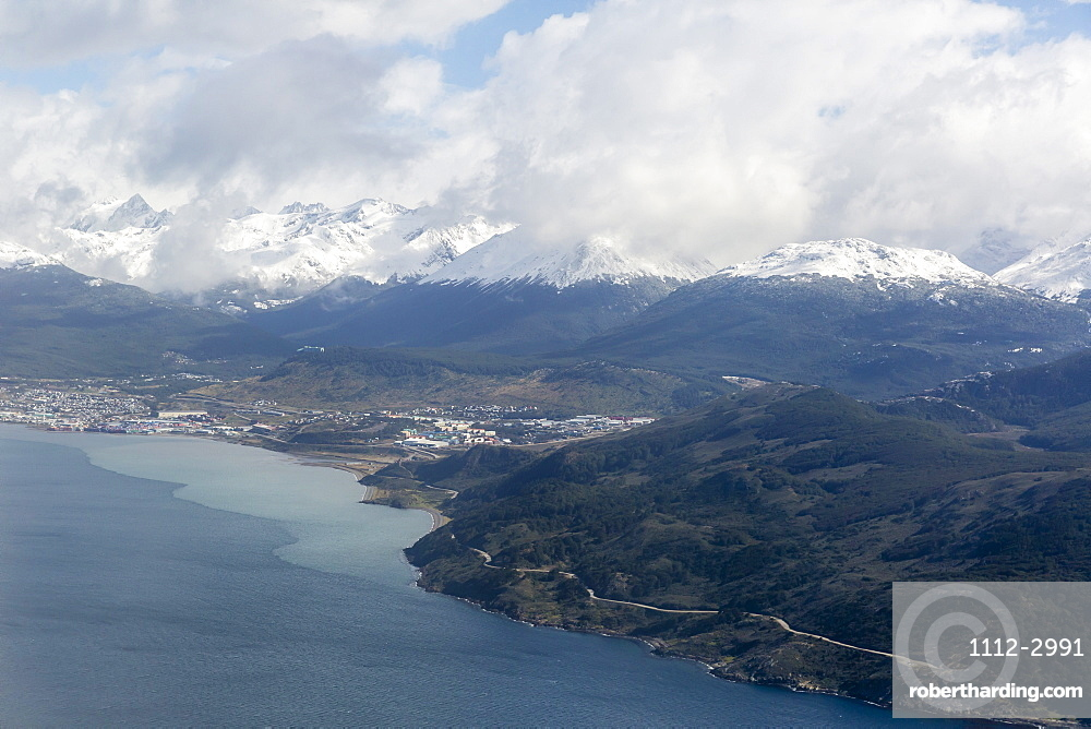 Aerial view of the Andes Mountains surrounding Ushuaia, Argentina, South America