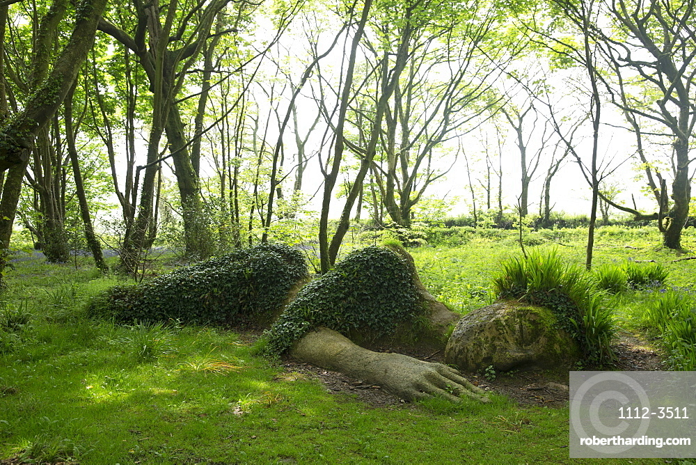 The Mud Maid plant and rock sculpture at the Lost Gardens of Heligan, Cornwall, England, United Kingdom, Europe