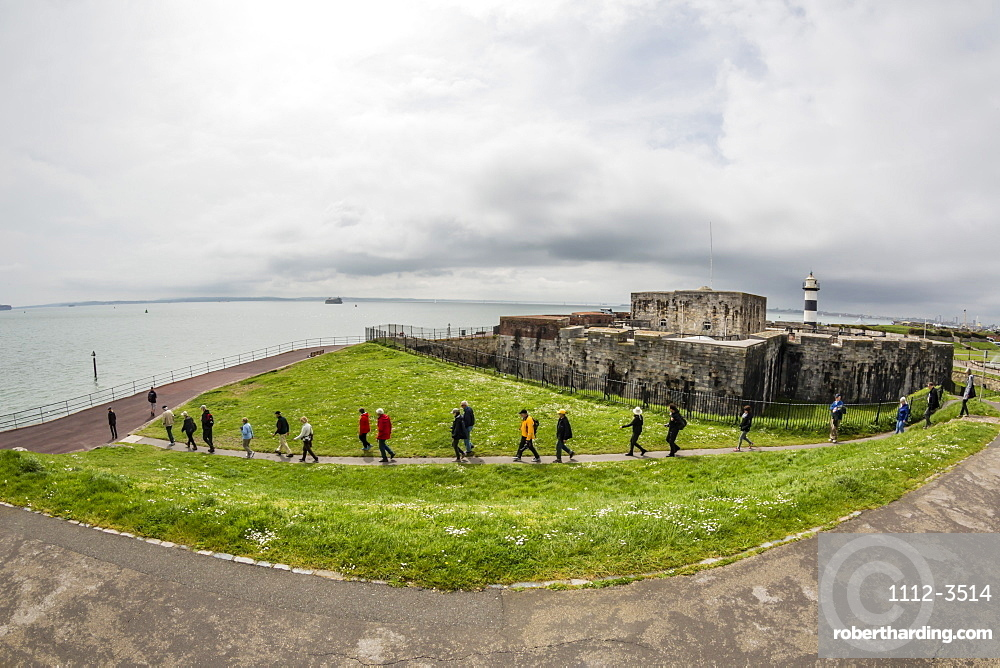Tourists at the grounds of the Southsea Castle in Portsmouth, Hampshire, England, United Kingdom, Europe