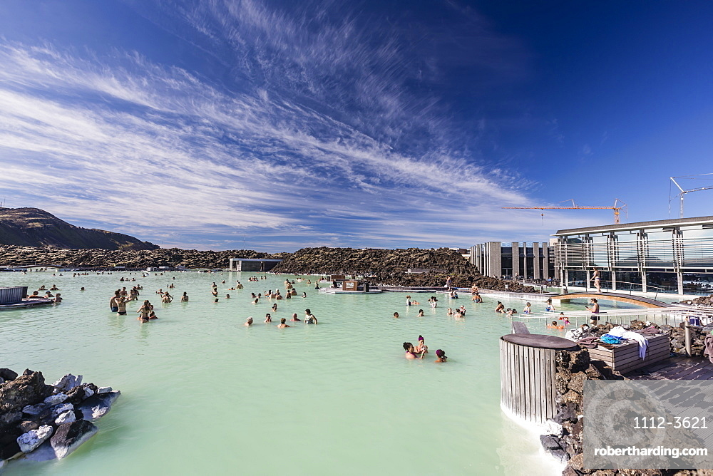 Guests enjoy the thermal waters of the Blue Lagoon, Bla??a lo??niv8 , Iceland.