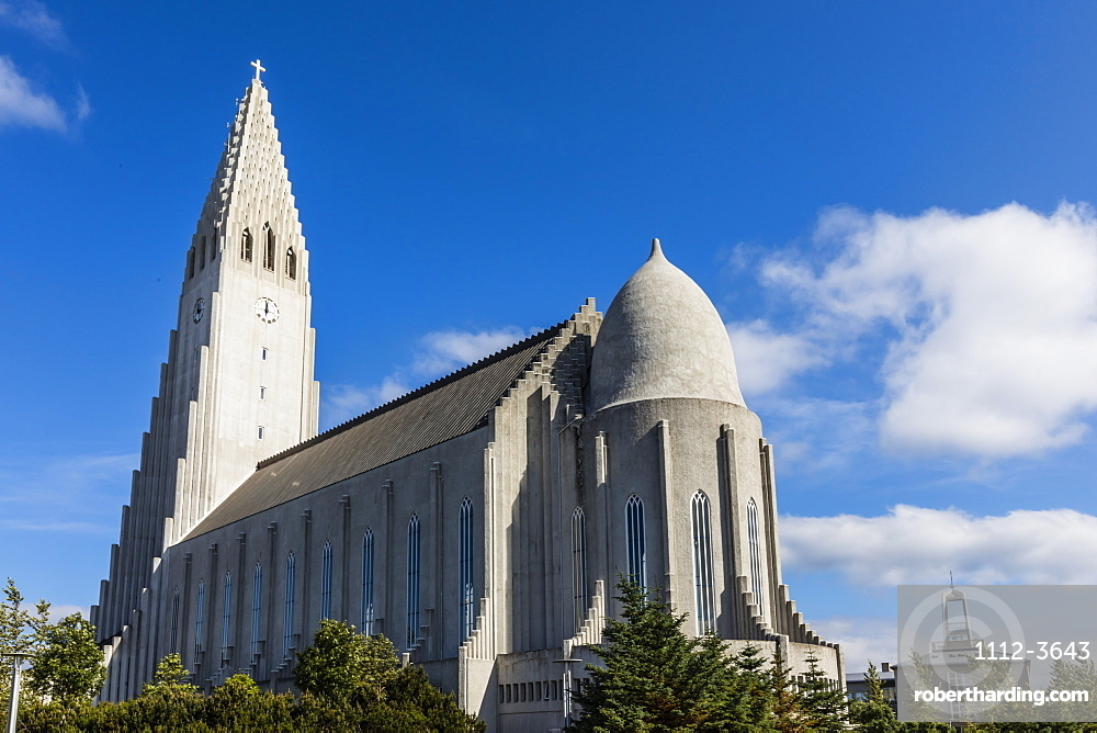 Exterior view of Hallgrimskirkja, the largest Lutheran church in Reykjavik, Iceland, Polar Regions