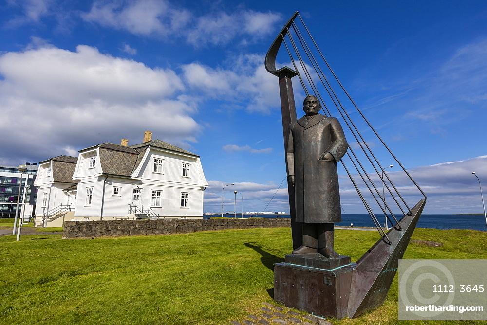 A statue of Einar Benediktsson near the Höfði House in Reykjavík, Iceland.