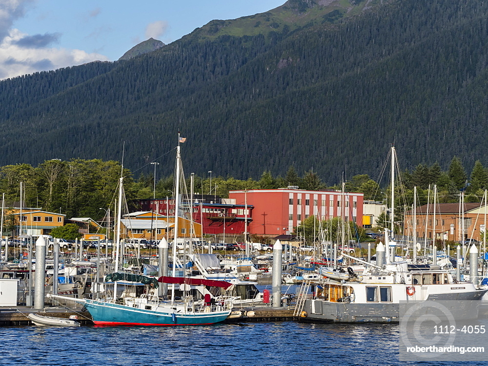 A view of the commercial fishing docks in Sitka, Baranof Island, Southeast Alaska, USA.