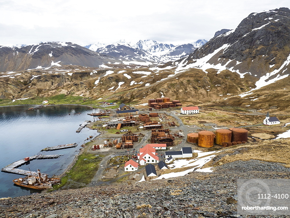 The abandoned whaling station at Grytviken, now cleaned and refurbished for tourism on South Georgia Island.