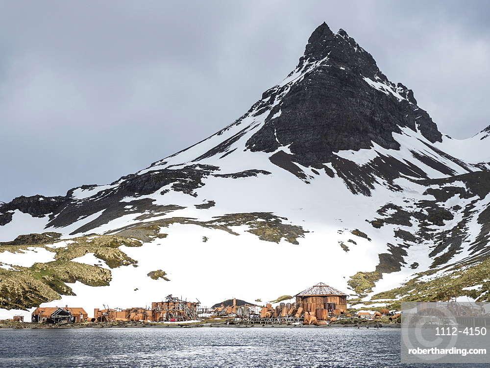 The abandoned remains of the Norwegian Whaling Station in Prince Olav Harbour, Cook Bay, South Georgia Island.
