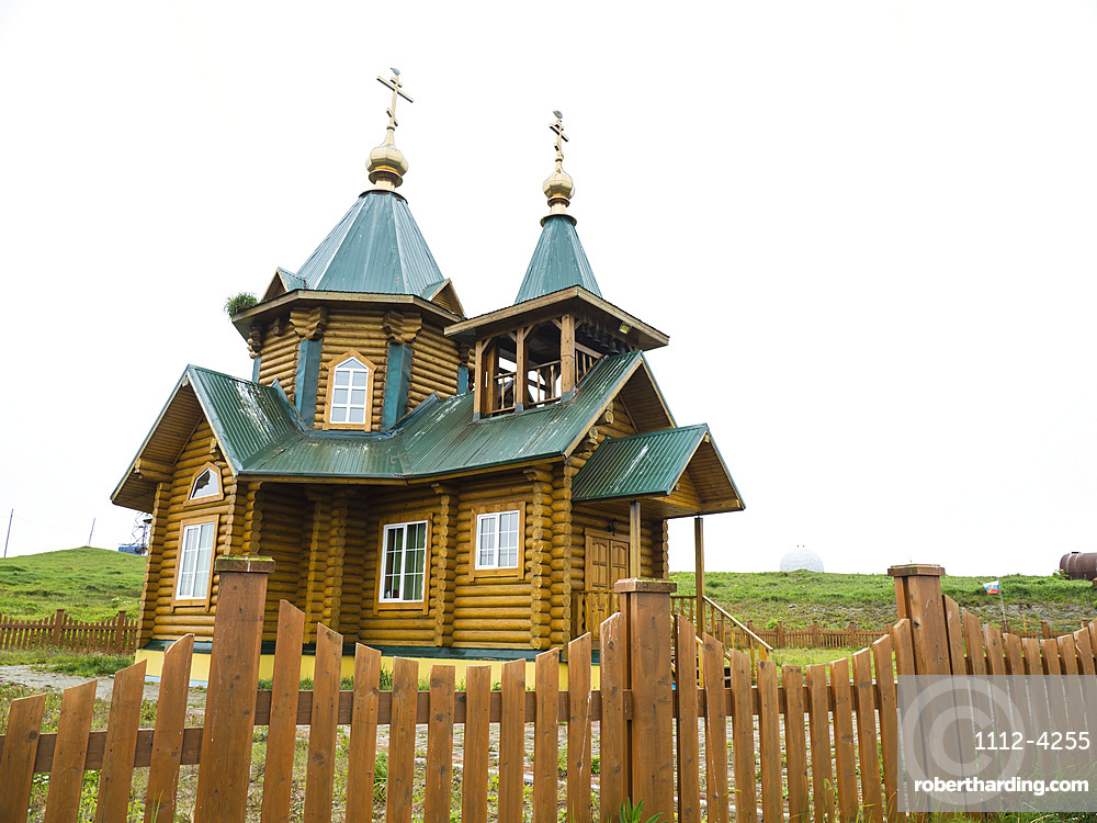 Exterior view of the Russian Orthodox Church in Nikolskoye Village, Commander Islands, Kamchatka, Russia, Eurasia