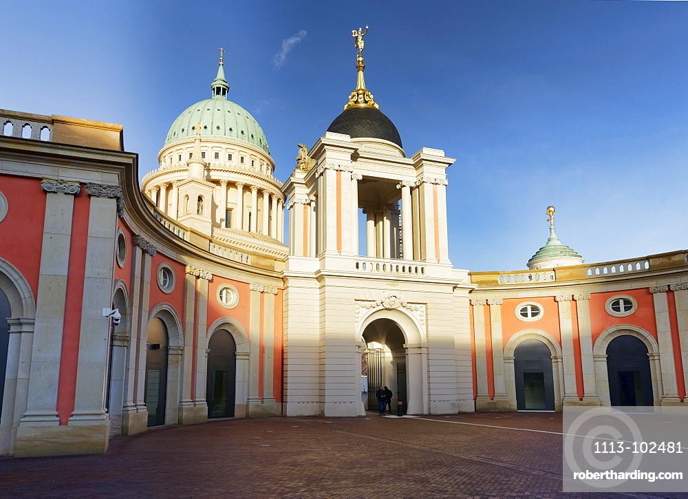 Fortuna Portal of Potsdam City Palace, St. Nicholas Church, the Old Town Hall Tower, Potsdam, Brandenburg, Germany