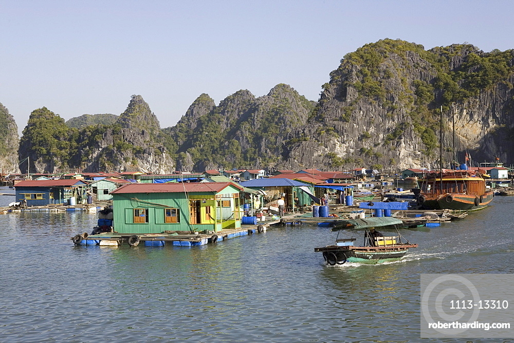 Colourful houses in the sunlight, floating fishing village at the Halong Bay at the Gulf of Tonkin, Vietnam, Asia