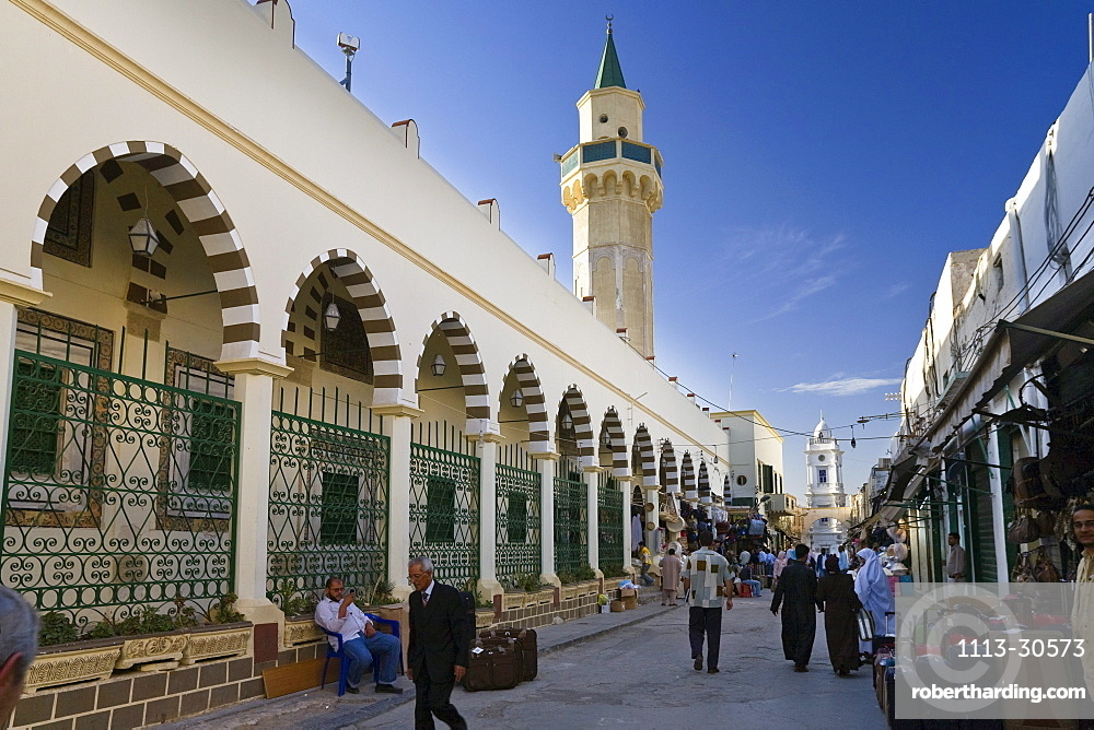 Mosque and shops in the Medina, old town of Tripoli, Libya, North Africa