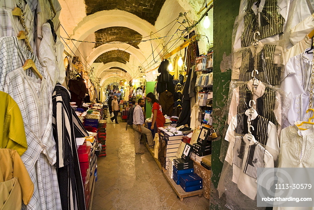 Traders and shops in the Medina, old town of Tripoli, Libya, North Africa