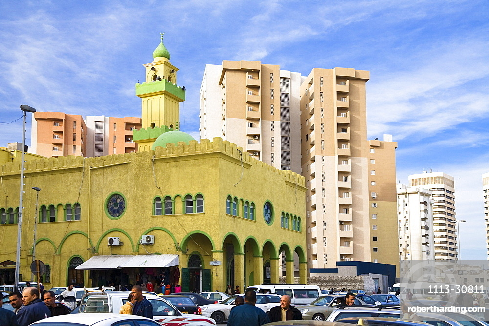 Mosque with minaret, Tripoli, Libya, Africa