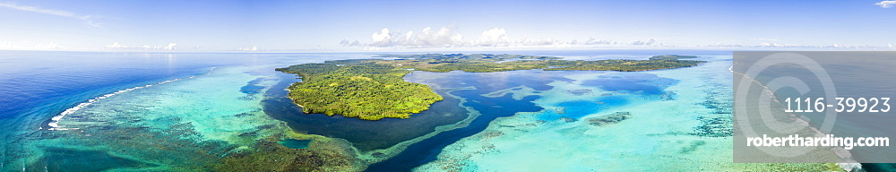 Aerial view of the outer reef and Goofnuw Channel looking south to the island of Yap, Yap, Micronesia
