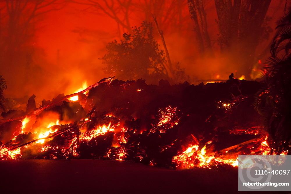 May 2018 eruption, Leilani Estates subdivision, East Rift Zone Kilauea Volcano, Big Island of Hawaii, Pahoa, Island of Hawaii, Hawaii, United States of America