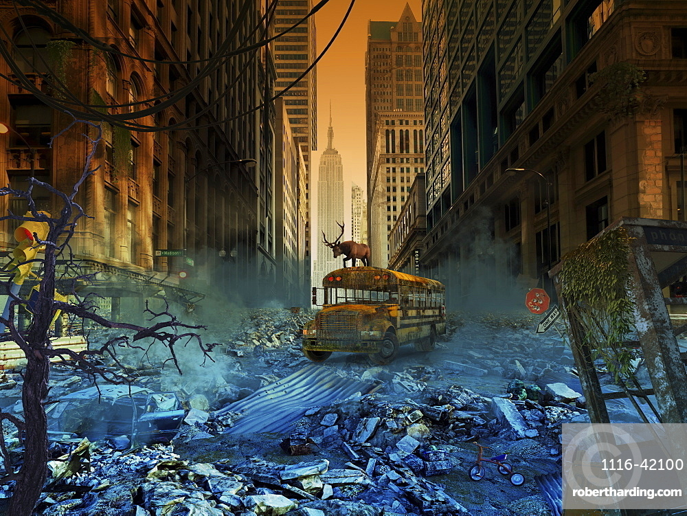 Abandoned school bus in an apocalyptic New York City, composite image