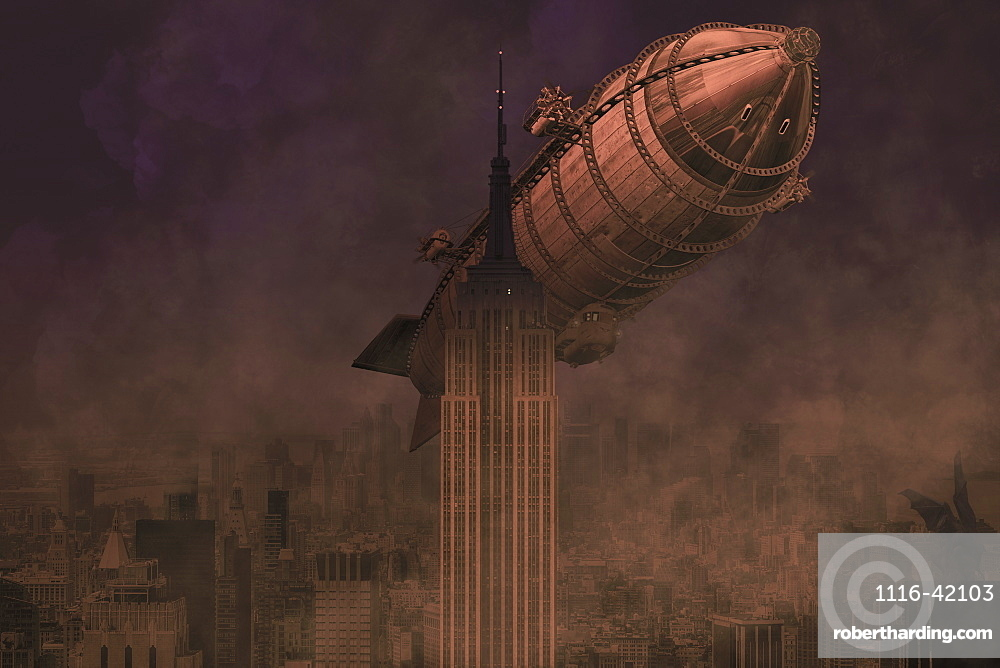A rigid airship flies by the Empire State Building, ready to collide, composite image