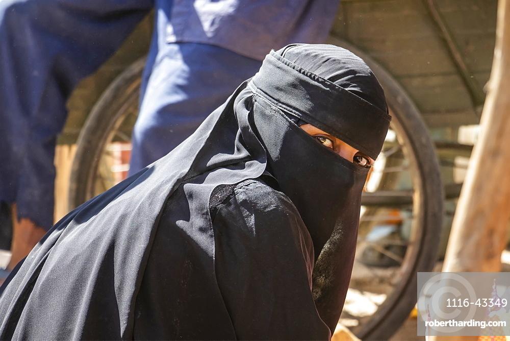 Eritrean woman in a Niqab at the open air market, Keren, Anseba Region, Eritrea