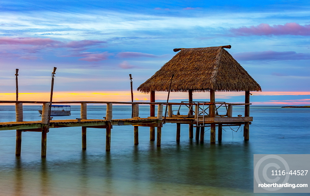 Pier off Malolo Island in the South Pacific at sunrise, Malolo Island, Fiji