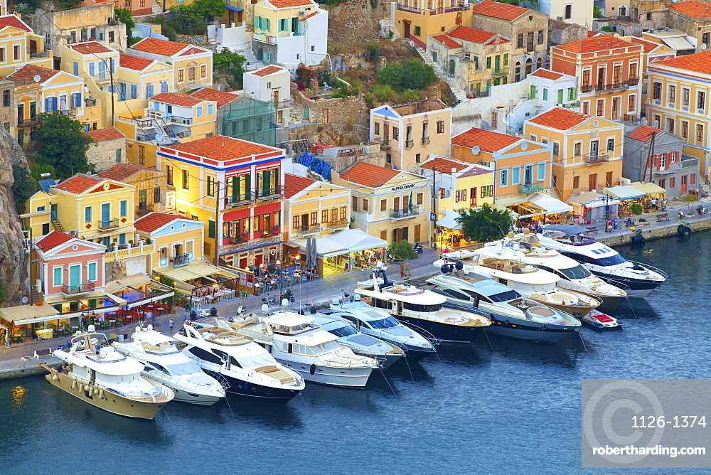 Symi Harbour, Symi, Dodecanese, Greek Islands, Greece, Europe
