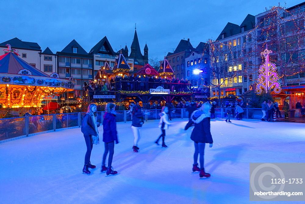 Skating, Cologne Christmas Market, Cologne, Germany, Europe
