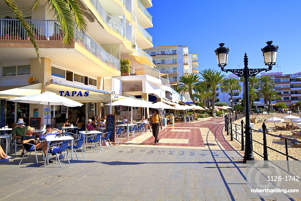 Seafront at Santa Eula??ria des Riu, Ibiza, Balearic Islands, Spain