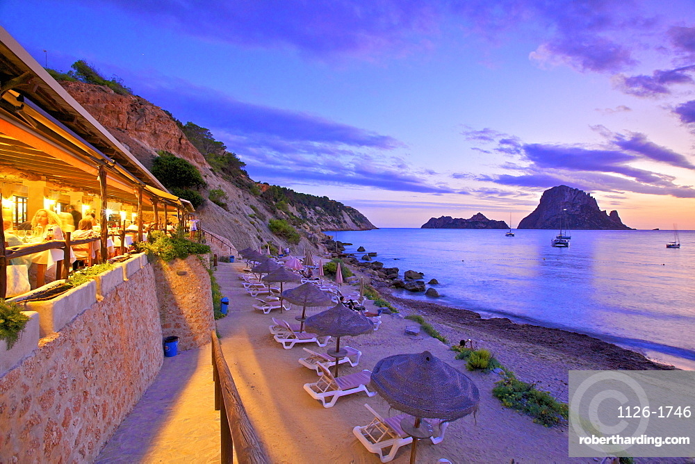 Restaurant at Cala d'Hort with The Island of Es Vedra in the Background, Ibiza, Balearic Islands, Spain
